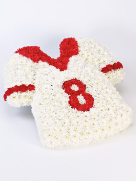 Flowers in the shape of a football shirt, red and white