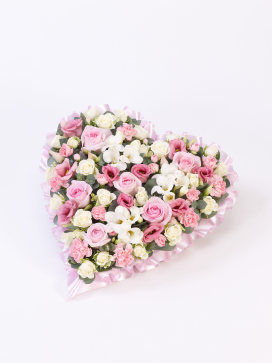 Heart Spray of Flowers, Pink and White