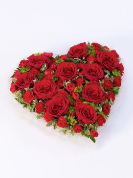 Heart Shaped Wreath with Red Roses and Carnations