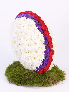 Rugby Ball made of Flowers in White, purple and red