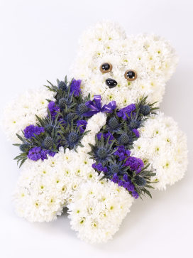 Teddy Bear Flower Arrangement in White and Purple