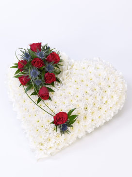 Heart Funeral Wreath with White Chrysanthemums and Red Roses