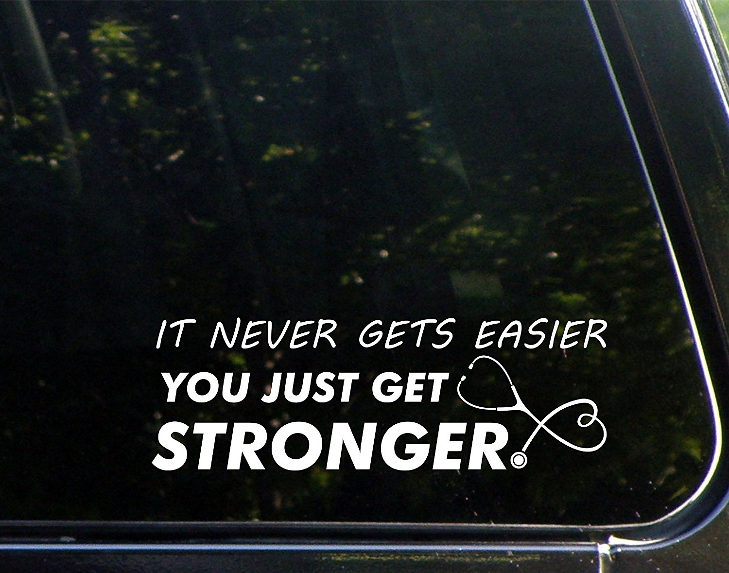 Car Sticker - It Never Gets Easier You Just Get Stronger
