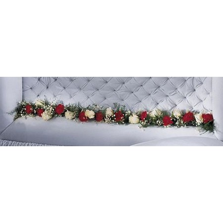 Coffin Hinge Embellishment Spray with Red and White Roses