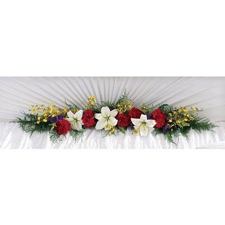 Red, White and Yellow Casket Hinge Spray