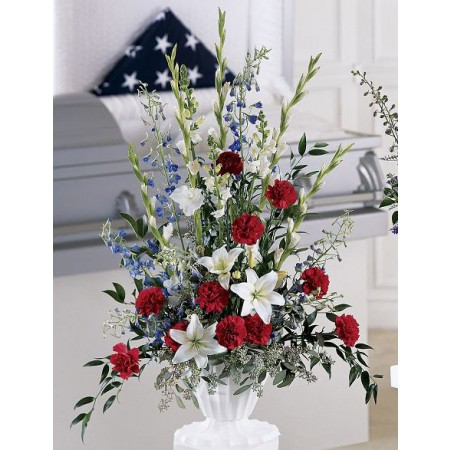 Red white and blue bouquet for a military funeral.