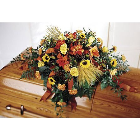 Rustic Country Flowers Casket Spray