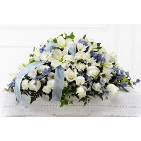 Blue and White Funeral Casket Spray for a Boy