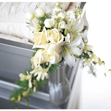 Corner Casket Adornment in Cream Roses, White Lilies