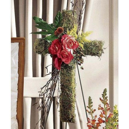 Rustic Funeral Flowers Cross of Roses and Moss with Birch twigs