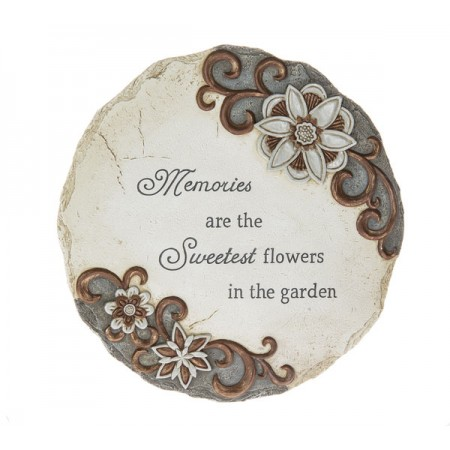 Memorial Garden Stepping Stone with Text - Memories are the Sweetest Flowers in the Garden