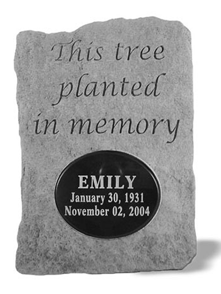Memorial Tree Plaque with Loved One's Name and Dates