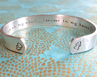 Miscarriage Cuff Bangle.  Always on my mind, forever in my heart.