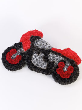 Motorbike Funeral Flowers in Red, Black and Grey