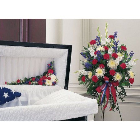 Patriotic Funeral Flower Package = Spray and Hinge Adornment in Red White and Blue