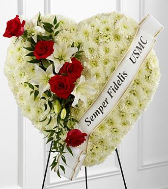 Patriotic Heart Standing Funeral Arrangement