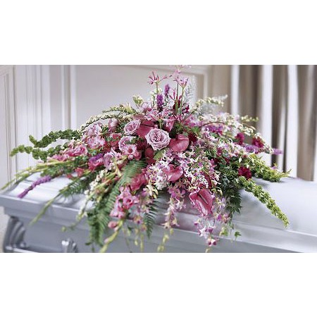 pink casket spray of flowers