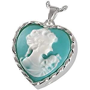Platinum Cameo Heart Cremation Pendant