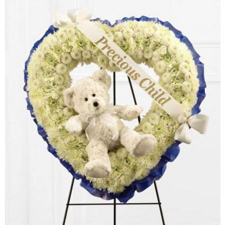Heart Wreath with Teddy Cream and Blue