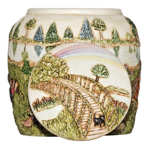 Ceramic Rainbow Bridge Cat Cremation Urn by Perfect Memorials