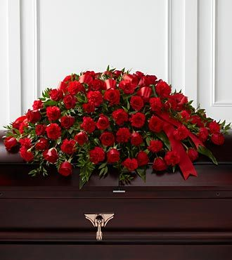 Red Roses Casket Flowers for a Man's Coffin