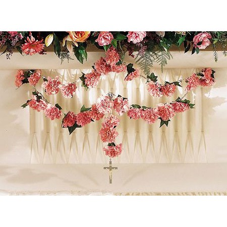 Rosary Bead Flowers with Cross - Pink Carnations in a Garland.