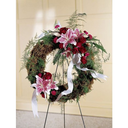 Rustic style funeral wreath with Pink lilies and red roses