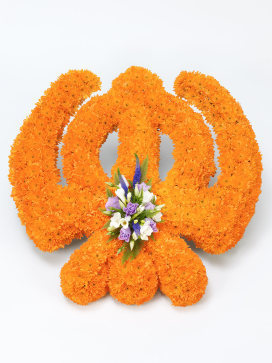 Sikh Khanda Symbol Funeral Flower Arrangement with Orange Chrysanthemums and Freesias