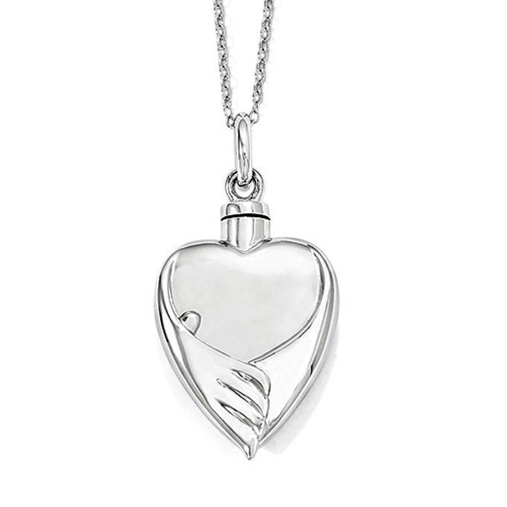 Sterling Silver Heart Shaped Ash Holder with Angels Wings