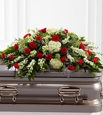 Funeral Casket Flowers Red and White