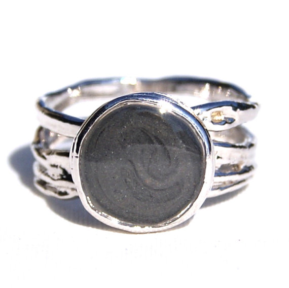 White Gold Cremation Ring for Ashes by Close By Me