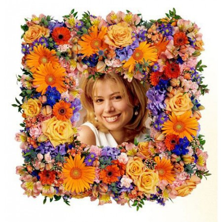 Colourful Square Photo Wreath in Yellows and Oranges