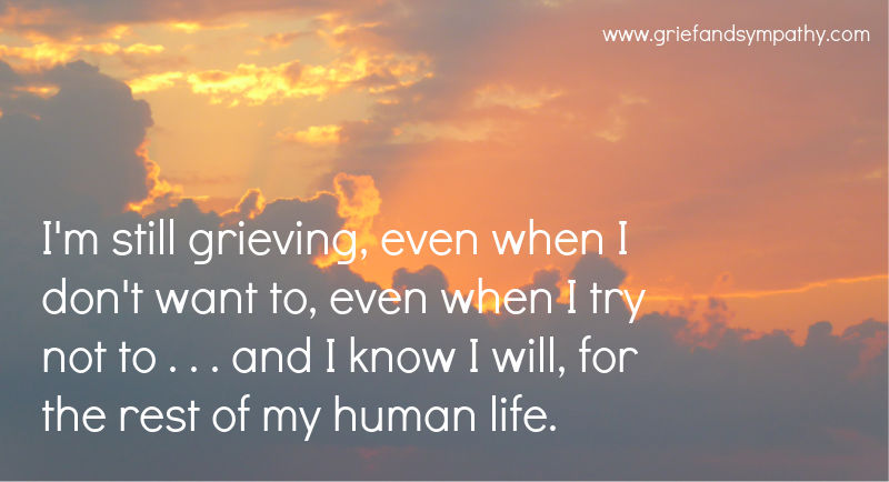 Quote about grieving - I'm still grieving . . . . and I know I will, for the rest of my human life.