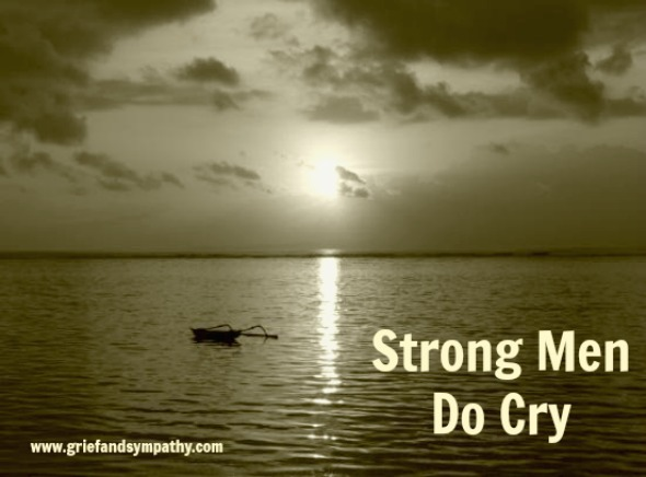 Meme - strong men do cry on dark moody seascape.