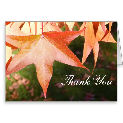Thank You Notecard with Autumn Leaves