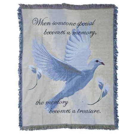 Blanket with Text When Someone Special Becomes a Memory, the Memory Becomes a Treasure.  With Blue Dove