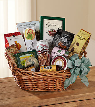 Memorial gift basket with gourmet snacks