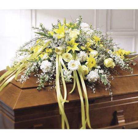 Yellow and White Funeral Casket Spray