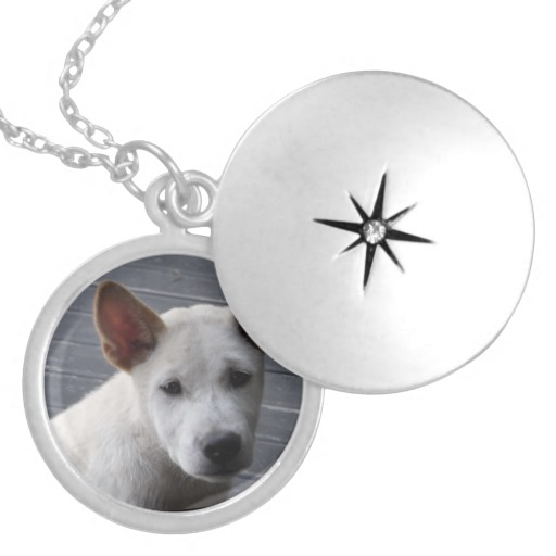 Silver Plated Locket with Photo of Puppy