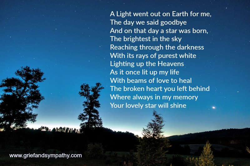 Short Funeral Poem -The Star - A Light went out on earth for me
