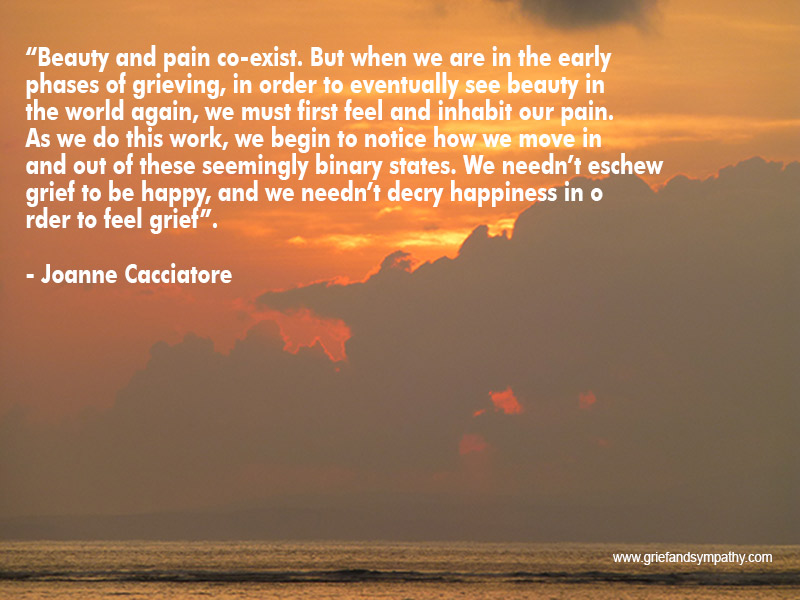 Beauty and pain co-exist. But when we are in the early phases of grieving, in order to eventually see beauty in the world again, we must first feel and inhabit our pain. Joanne Cacciatore
