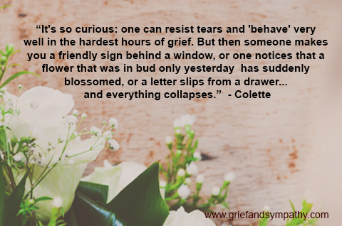 It's so curious: one can resist tears and 'behave' very well in the hardest hours of grief. Colette