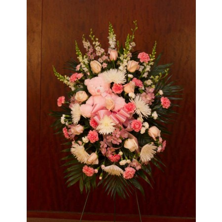 Pink and White Funeral Spray for Baby with  Pink Teddy Bear