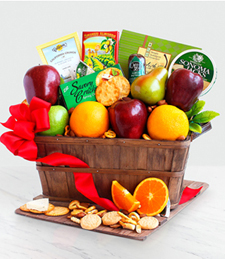 Fruit basket with cheeses and crackers