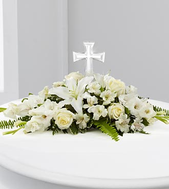 White Funeral Flower Bouquet with Cross