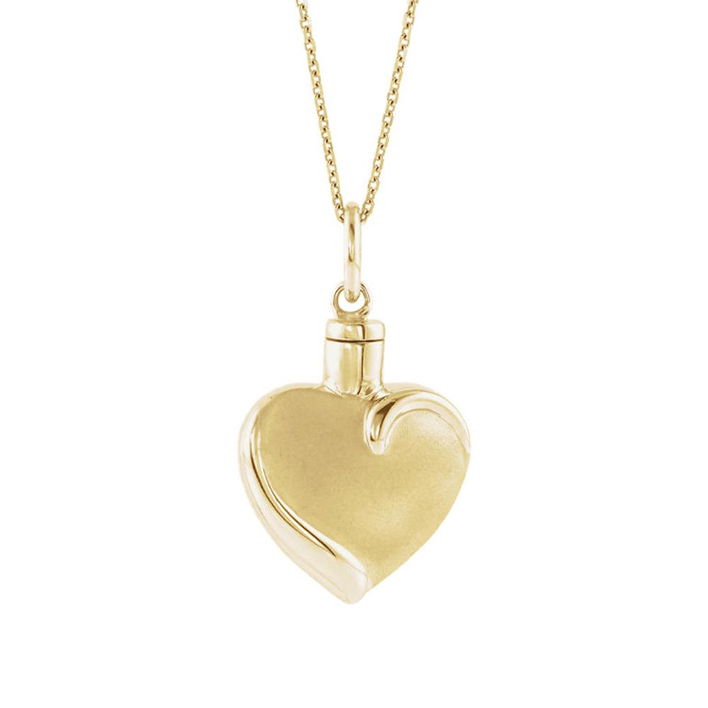 Gold heart shaped ash holder pendant.