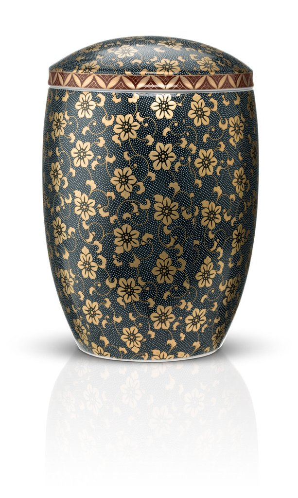 Blue Floral Ceramic Urn by Urns in Style - Imperial Japanese Made
