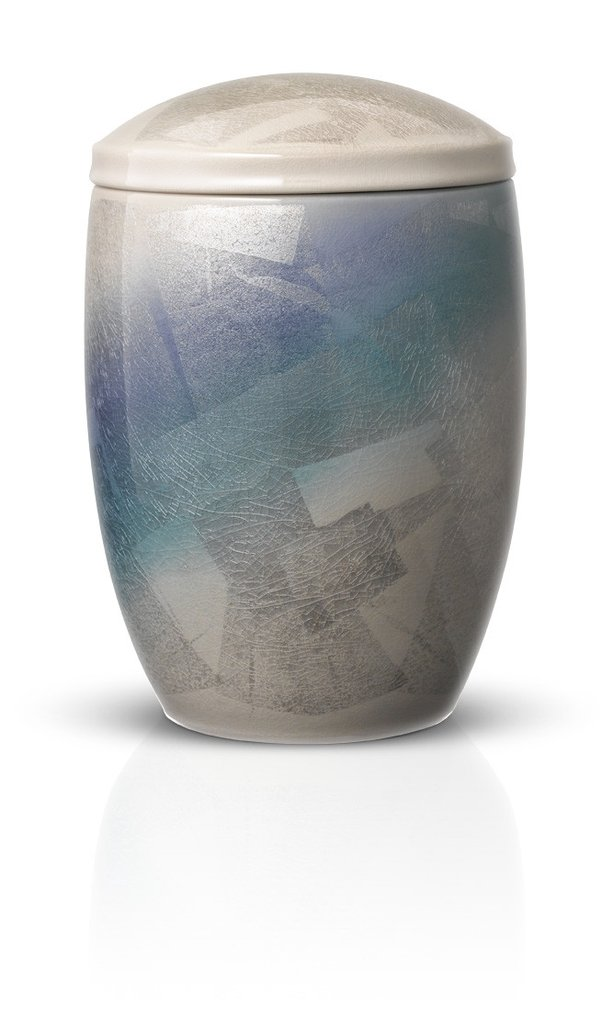 Blue and Silver Ceramic Memorial Urn by Urns in Style