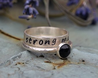 Miscarriage Ring - Handmade with Silver and Onyx