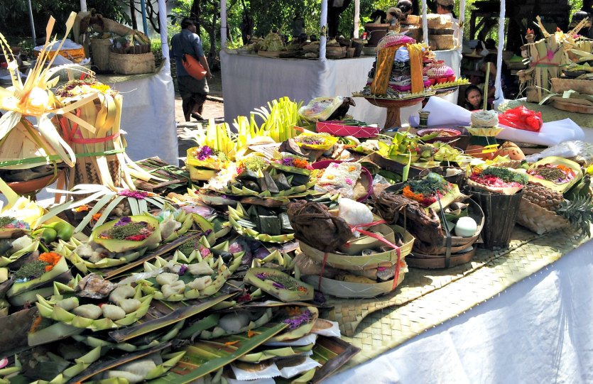 Offerings at a Balinese cremation